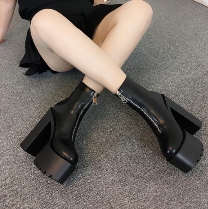 Sehr hoher Absatz Damen Blockabsatz Stiefeletten Plateau zip Stiefel Stiefel Stiefel Weiß Schwarz 046942