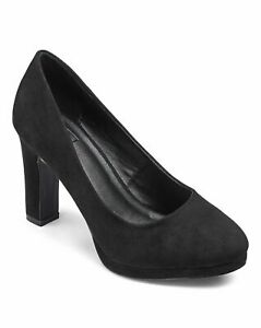 Womens-Abigail-Platform-3-5-034-heel-Court-Shoes-Simply-Be-Black-UK-size-4-Wide-E