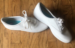 keds women's white leather lace shoes size 10 casual