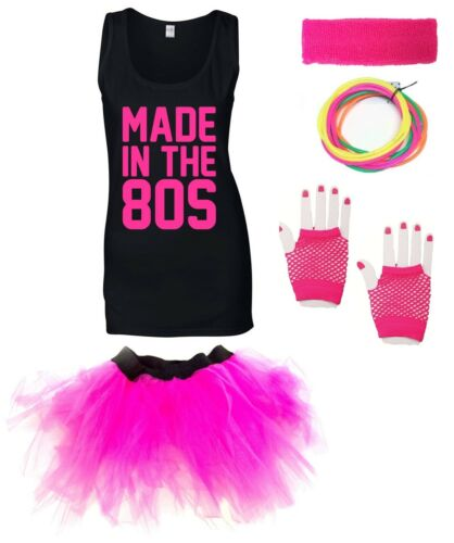 MADE IN THE 80s Ladies Vest Outfit Fancy Dress Costume Neon Tutu 80/'s Gloves