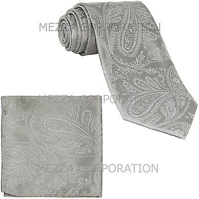 New Vesuvio Napoli polyester Men/'s necktie /& hankie set paisley party red
