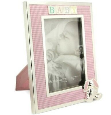 """3D Bunny 2746 New Reed /& Barton Silverplate Baby Frame 4x6/"""" Pink Gingham Fabric"""