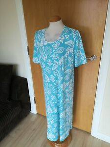 Ladies-Dress-Size-18-DAMART-Turquoise-White-Stretch-Jersey-Smart-Casual-Day