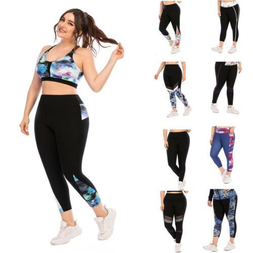 Women High Waist Yoga Pants with Pockets Tummy Control Plus Size Yoga Leggings