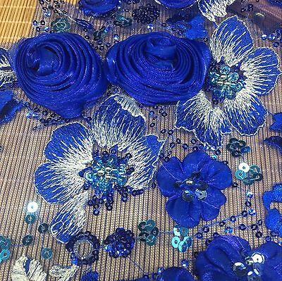 3D Paillette Blumen Spitze Bestickt Applikation Perlen Kleid Saphir Patch Motiv