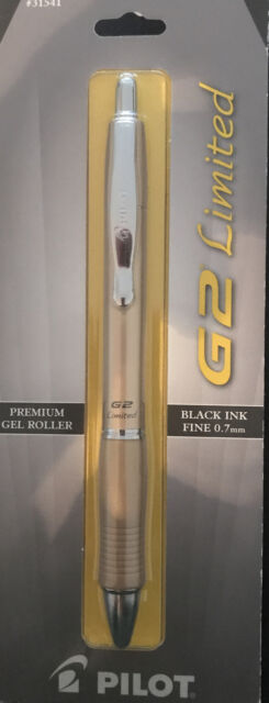 Pilot G2 Limited Rollerball Pen Premium Gel Fine 0.7 Black Ink  Gold Barrel New