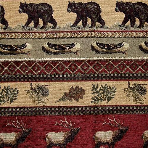 Cabin Bear Rustic Upholstery Fabric Horizon Lodge Canoe Elk Pinecone Furniture
