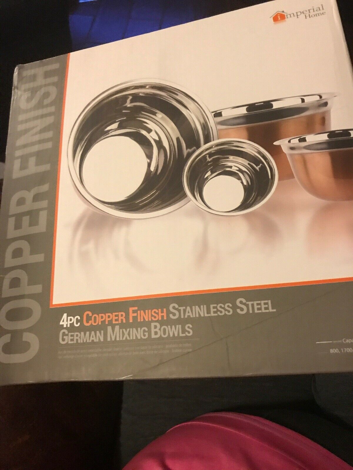 Imperial home Copper Finish - 4 pc stainless steel german mixing bowls new