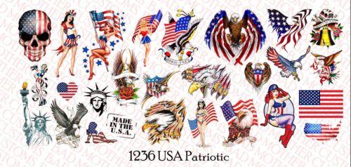 USA /& patriotique Designs Échelle 1//12 Waterslide Decals for Action Figure tatouages