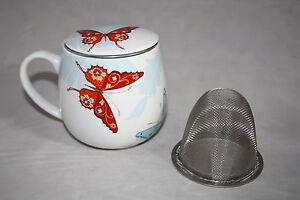 Teetasse mit Sieb und Deckel Bijou Schmetterling Könitz