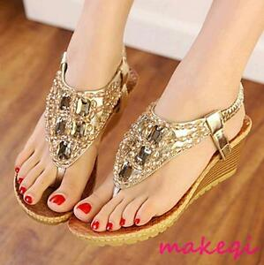 New-Womens-Rhinestones-Flip-Flop-Wedge-Crystal-Ankle-Straps-Sandals-Shoes-2017