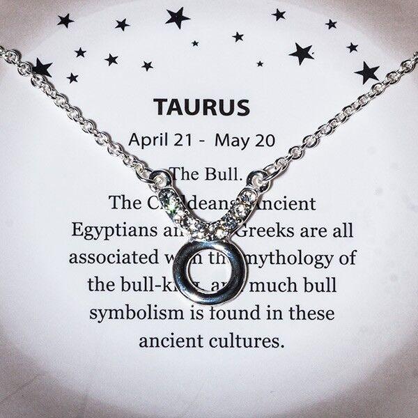 18 Taurus Glyph Symbol Clear Rhinestone Silver Chain Zodiac Pendant