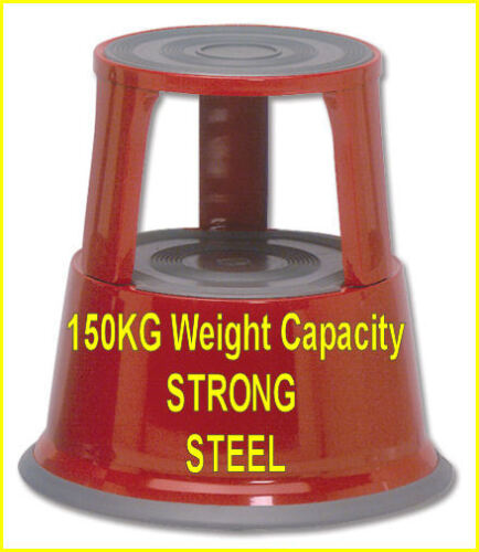 NEW ROLL ALONG SUPERMARKET STEP KICK STOOL RED © 913764