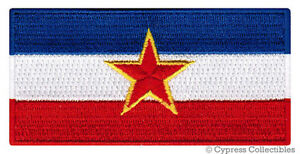 YUGOSLAVIA-FLAG-embroidered-iron-on-PATCH-SERBIAN-EMBLEM-applique-BALKANS-SFR
