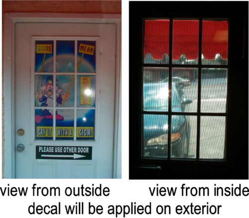 NEW PERFORATED WINDOW VINYL DECAL NOTARY SERVICES HERE 2/' X 4/' LARGE RED WHITE B