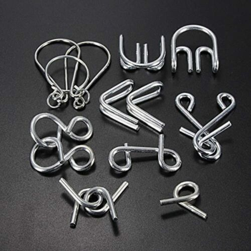 7 Sets IQ Test Mind Game Toys Brain Teaser Metal Wire Puzzles Magic Trick Toy