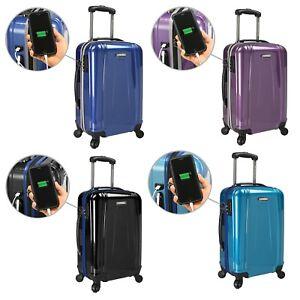 US-Traveler-Smart-USB-EZ-Charge-Carry-on-Spinner-Luggage-Suitcase-with-TSA-Lock