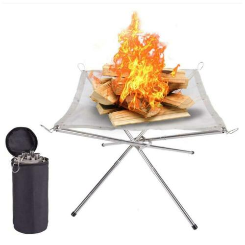 Foldable Campfire Rack Outdoor Camping Burning Rack Fireplace Fire Pit Portable