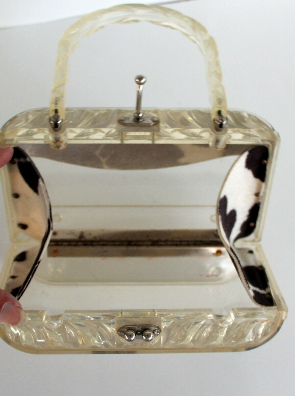 Vintage ~ 1960s ~ Clear Lucite TrinketJewelry Stand ~ Hollywood Regency ~