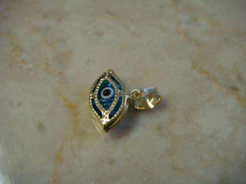 Mauvais Oeil Charme Or 14k Chaîne Tous Seeing Eye Pendentif medalla mal de OJO Oro Real