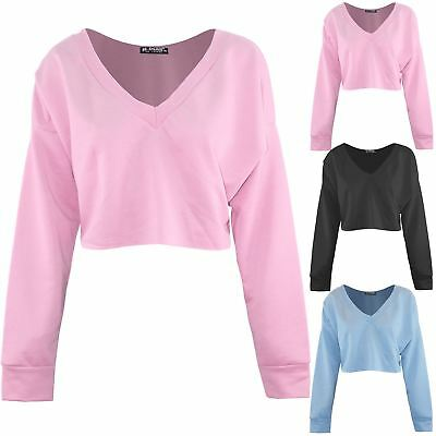 Womens Ladies Raw Edge Baggy Oversized Long Sleeve V Neck Pullover Cropped Top