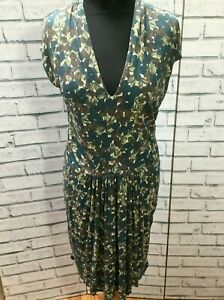 Gorgeous-Nicole-Farhi-Green-Floral-Print-Dress-Size-12