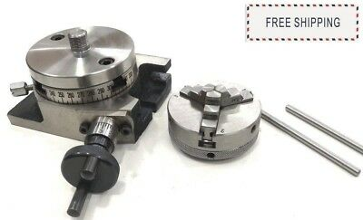 """Backplate for 3/"""" /& 4/"""" Rotary Tables 3 Jaw Self Centering Lathe Chuck 65 mm"""