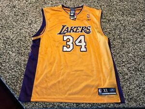 3a54eff4631a NWT Shaquille O neal gold NBA Los Angeles Lakers Jersey 34 vintage ...