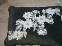 BNWT Next Crochet Pearl Flower Oblong Cushion 43x33cm Charcoal/Black? Velvet