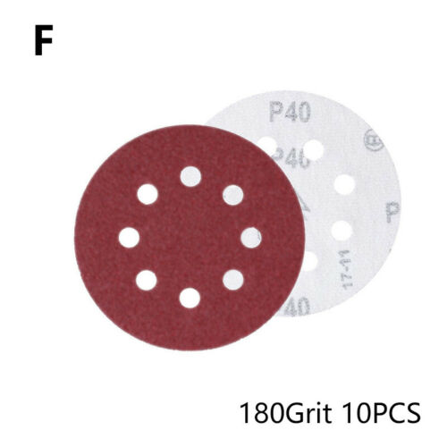 10PCS Hook 5 Inch Sanding Paper 8 Hole 60-800 Grits Disc Sandpaper Abrasives