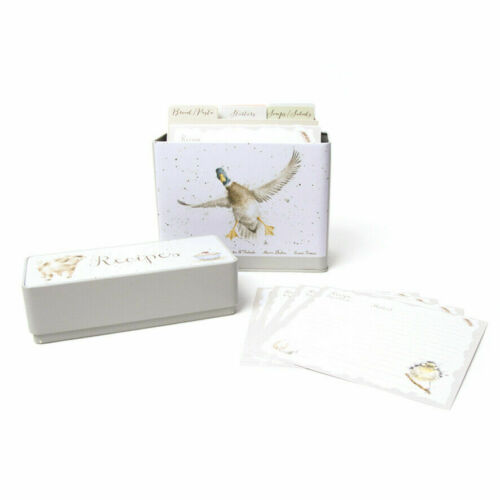 Wrendale Designs recette Carte de stockage Tin et 64 cartes Pays Cuisine Accessoire