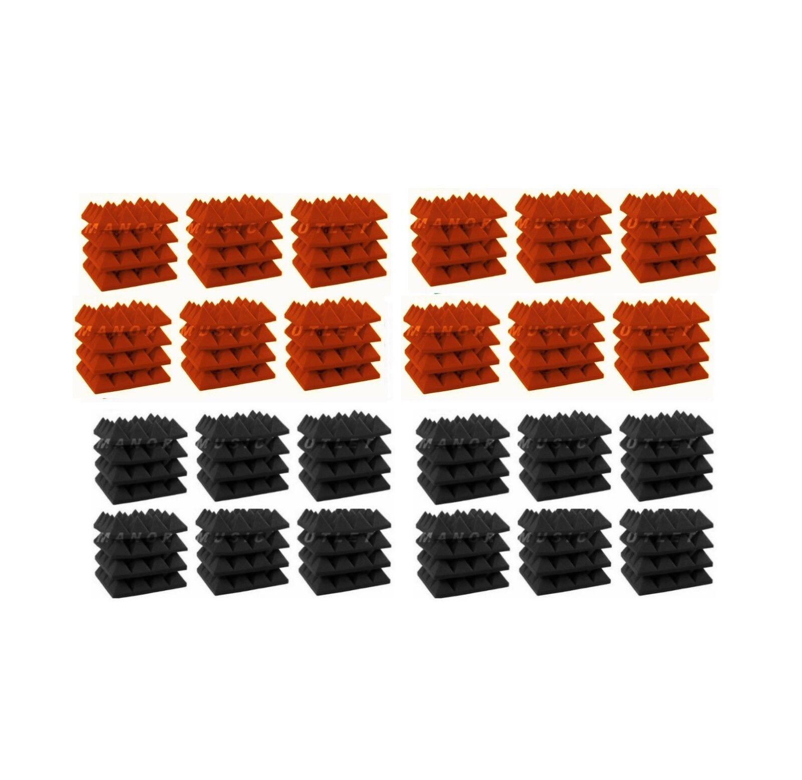 Acoustic Foam 96pcs Orange Charcoal grau Pyramide 12X12X3 Fliesen Pro-Pack Combo
