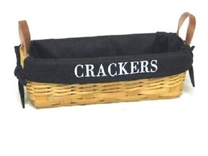 Country-Rustic-Farmhouse-034-Crackers-034-Burlap-Lined-Cracker-Basket