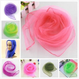 Women Ladies 50s Square Chiffon Neck Head Scarf Scarves Wrap Soft Stole Shawl UK