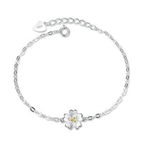 Image Is Loading Real 925 Silver Women Gold Flower Chain Bracelet