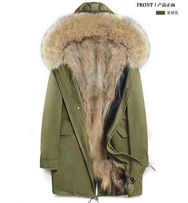 SNML man Parka jacket real leather fur lining raccoon fur Nyctereutes collar