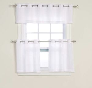 White 3 Pc Curtain Set: Tier & Valance Set: Valance 2 Tiers 36L - Real Living