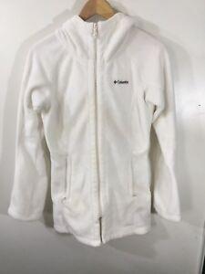 COLUMBIA-Womens-Full-Zip-Lined-Hood-Light-Jacket-Ivory-Sz-Small