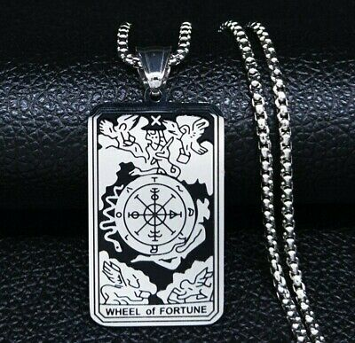WHEEL OF FORTUNE TAROT CARD CHARM Glass Covered Altered Art for Bracelets Necklaces Pendants