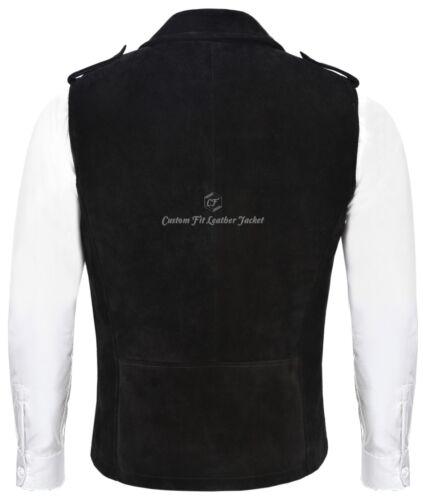 Men's Steampunk Motorcycle Biker Suede 1025 Black Waistcoat Leather Style Brando 4rBp4