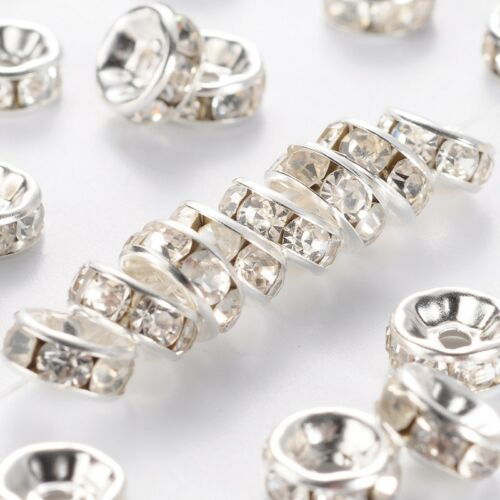 1081 20 Pièces entre perles 8 mm strass ronds Spacer Argent Strass Rondell