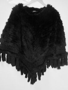Gr Kaninchenfell Poncho Luxuriöser Neuwertig Uni Schwarz waptzCqx