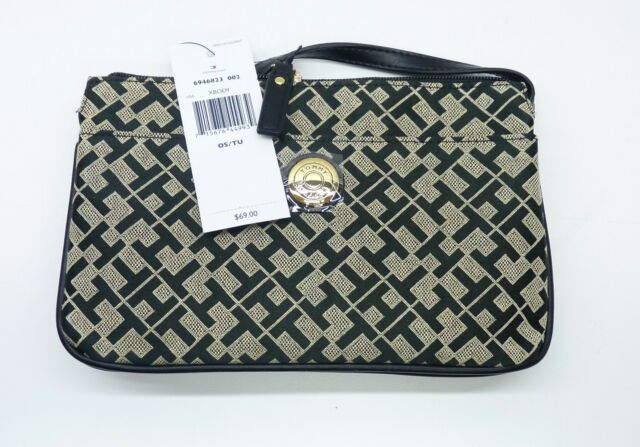 Tommy Hilfiger 6946823 002 Black Beige Monogram Crossbody Bag Free Shipping