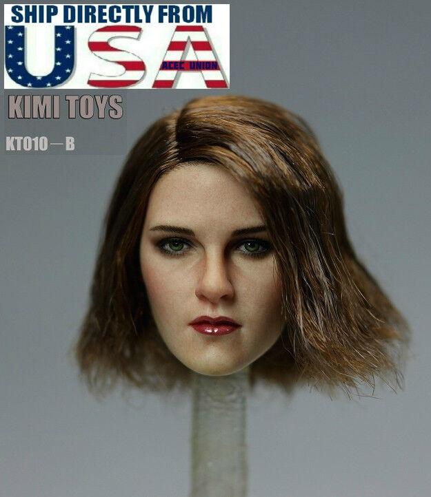 1 6 Female Head Sculpt Short Brown Brown Brown Hair KIMI KT010 B For Hot Toys Phicen U.S.A. a6b93c
