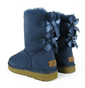 36538977a10 Details about UGG Bailey Bow II Navy Blue Suede Fur Boots Womens Size 10  *NIB*