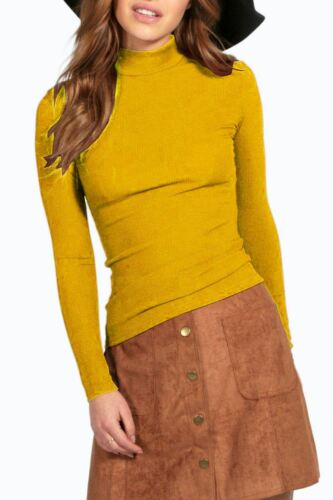 Womens Long Sleeve Polo Neck High Turtle Thin Ribbed Stretchy Ladies T-Shirt Top