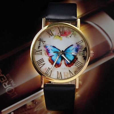 Ladies Womens Butterfly Leather Strap Fashion Watches Analog Quartz Wrist Watch
