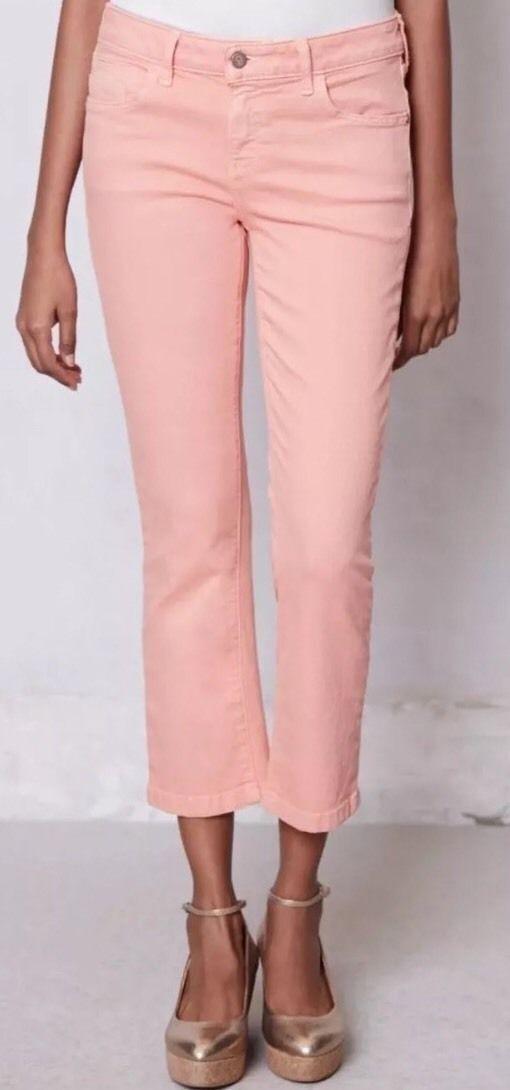NWT Pilcro Stet Slit Crop Jeans Pants Size 28 Peach ANTHROPOLOGIE