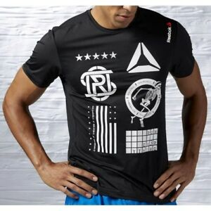 Reebok Herren Sport T-Shirt Fitness Funktionsshirt Laufshirt Crossfit schwarz