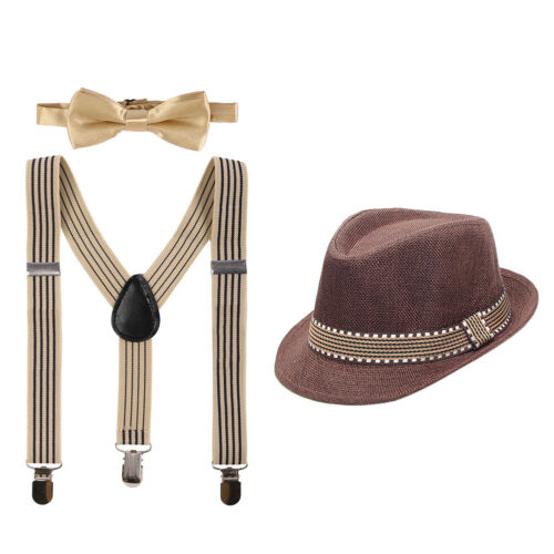 Kid Boys Gentlemen Suspenders Hats Bowtie Outfits Set for Birthday Formal Party